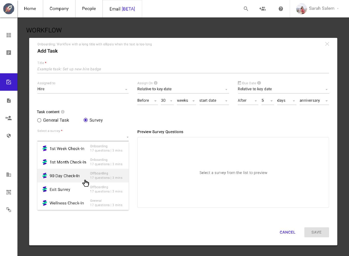 Sapling Surveys Interface for setting tasks